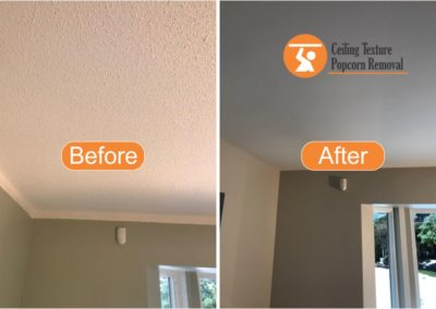 Before and after Photos of Ceiling popcorn removal - Vancouver BC - By Ceiling Texture Popcorn Removal 4