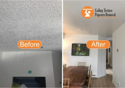 Before and after Photos of Ceiling popcorn removal - Vancouver BC - By Ceiling Texture Popcorn Removal 5